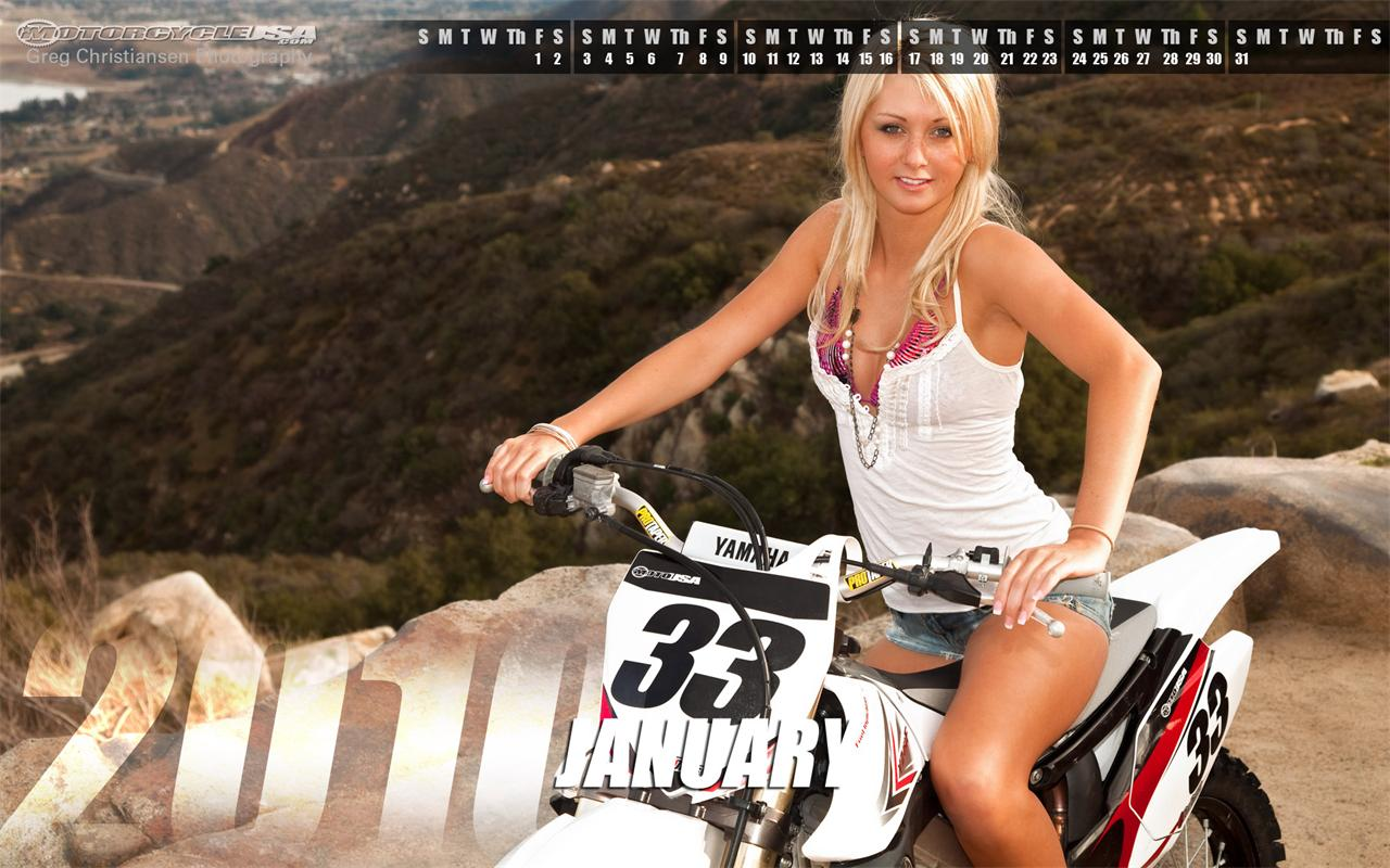 January 2010 Pin Up Girl Calendars   4 of 4   1280x800   Motorcycle 1280x800