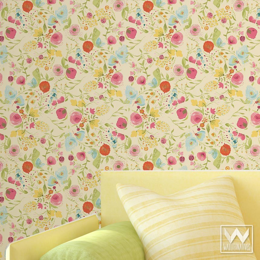 floral pattern WallAppeal wallpaper watercolor yellow zoom 860x860