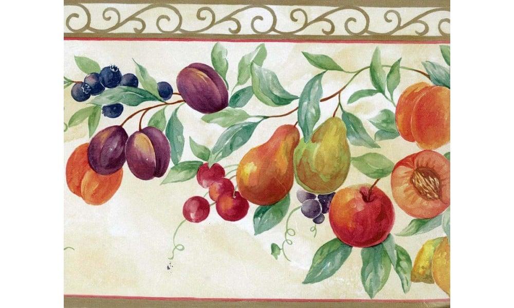 Home Orange Tropical Fruit Wallpaper Border 1000x600