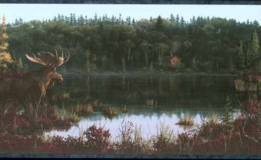 Moose by the Lake Wallpaper Border   Wallpaper Border Wallpaper 525x323