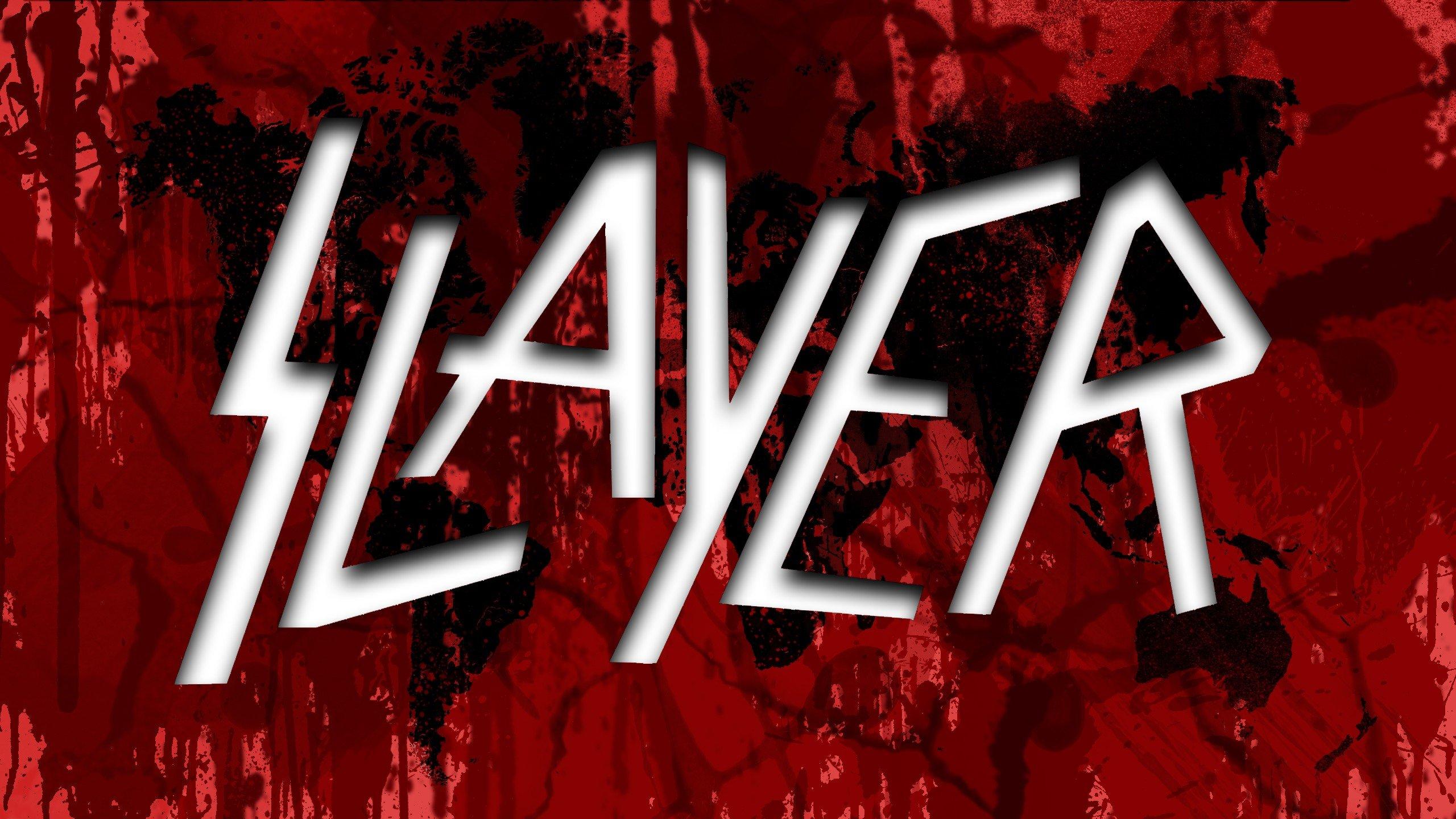 Slayer world map Thrash Metal TagNotAllowedTooSubjective splatters Red 2560x1440