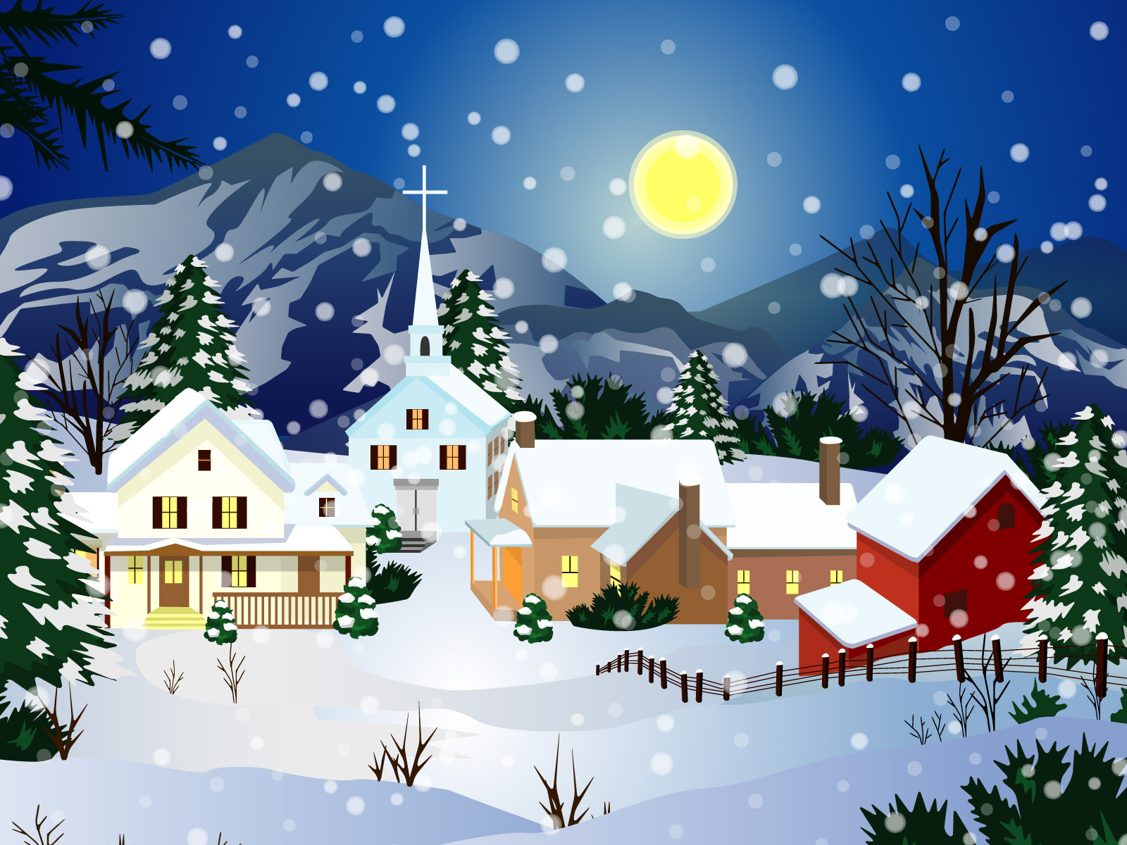 Christmas Snow Trees Backgrounds Christian Wallpapers 1600x1200