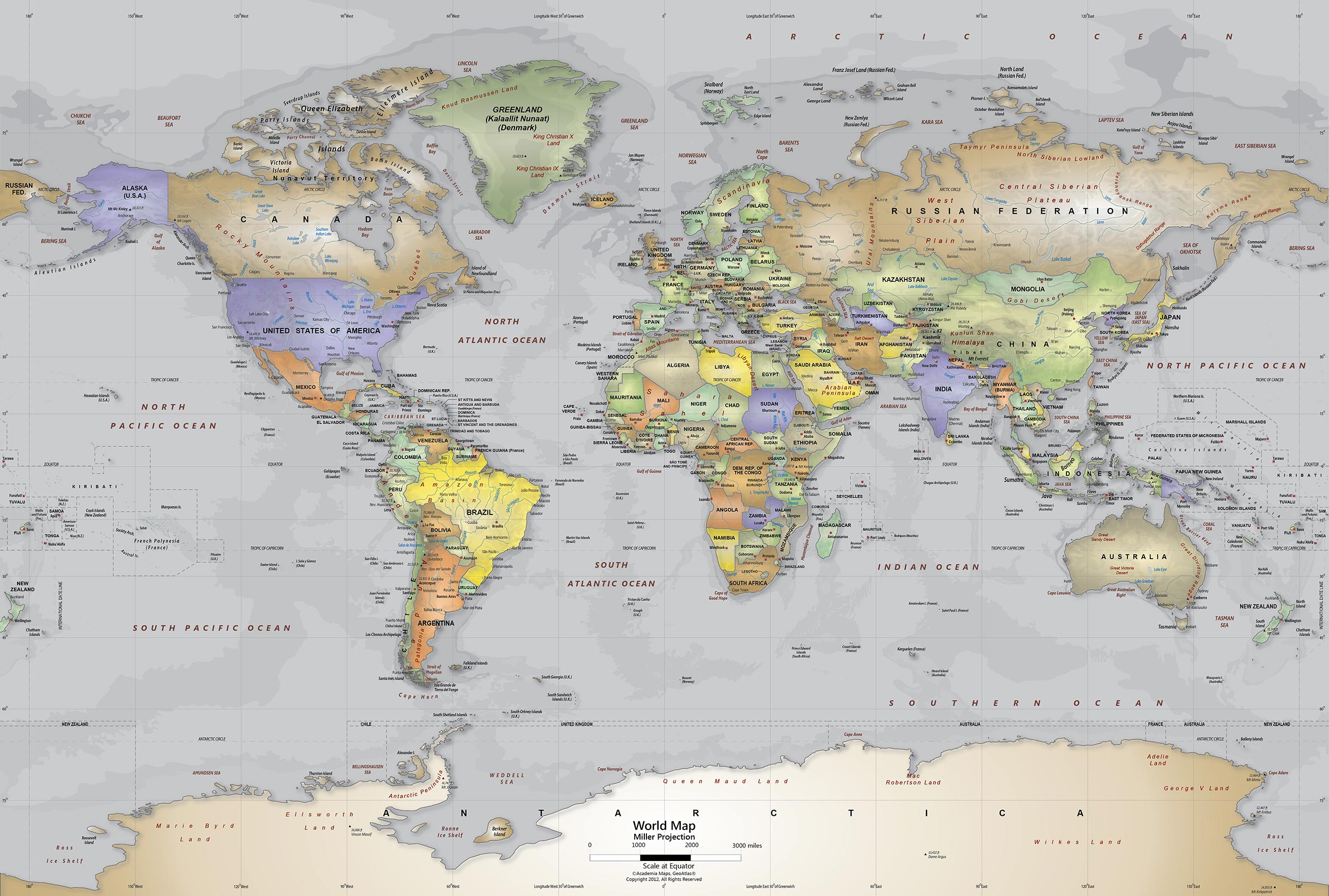 Download Gray Oceans World Political Map Wall Mural Miller ...