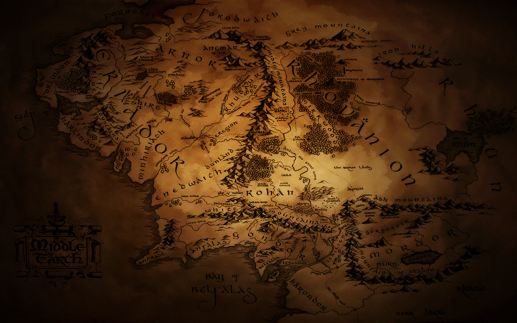 Middle Earth Map Wallpaper 2 by JohnnySlowhand 1680x1050