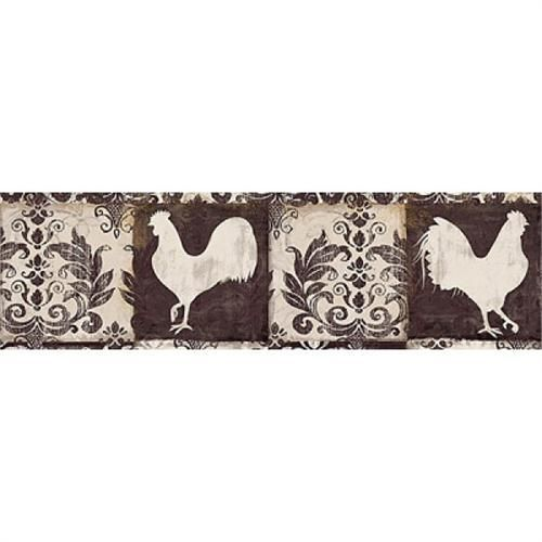 new country chccolate brown cream rooster wallpaper border 418b80975 500x500