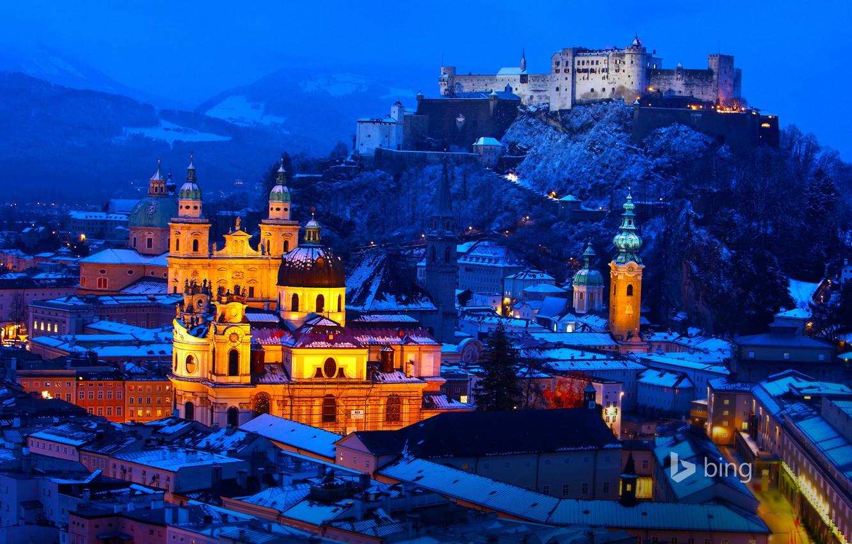 Wallpaper winter snow mountains night lights castle home 1332x850
