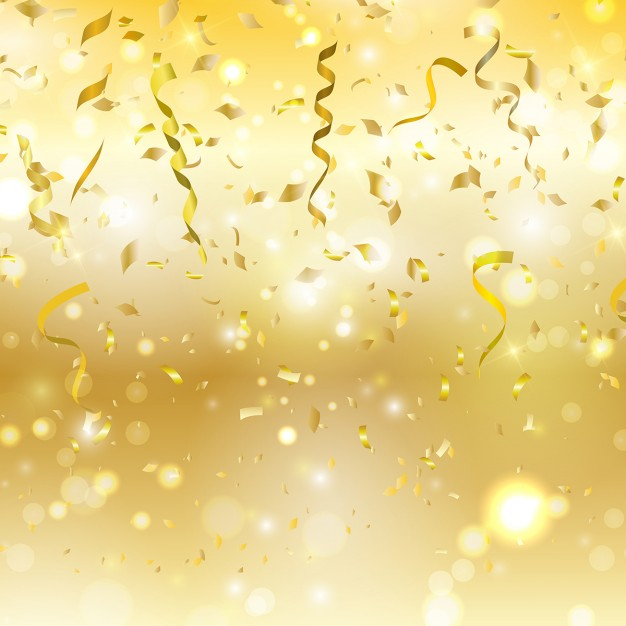 Golden background with confetti and streamers 626x626
