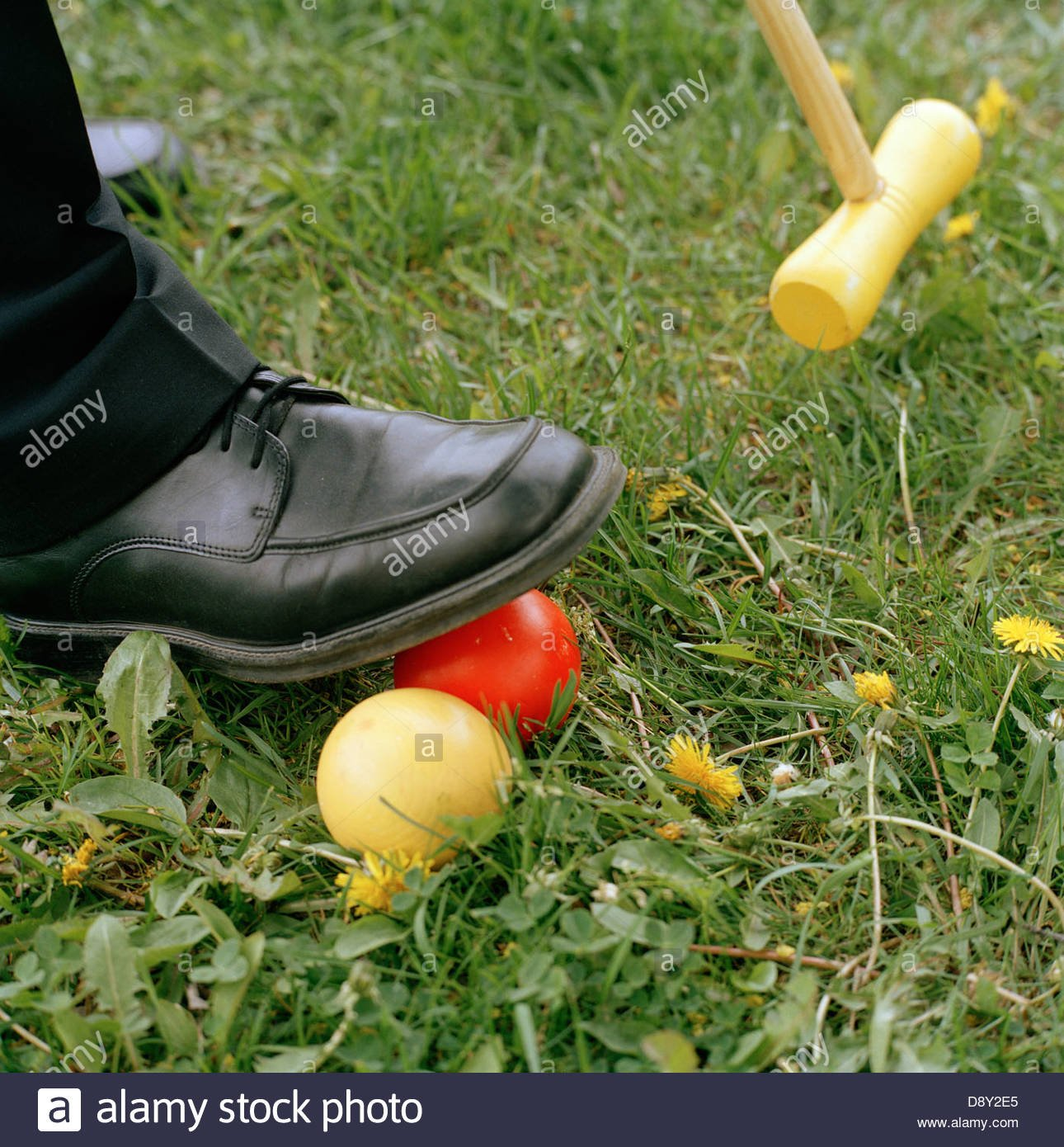 Foot on croquet ball with croquet club in the background Stock 1290x1390