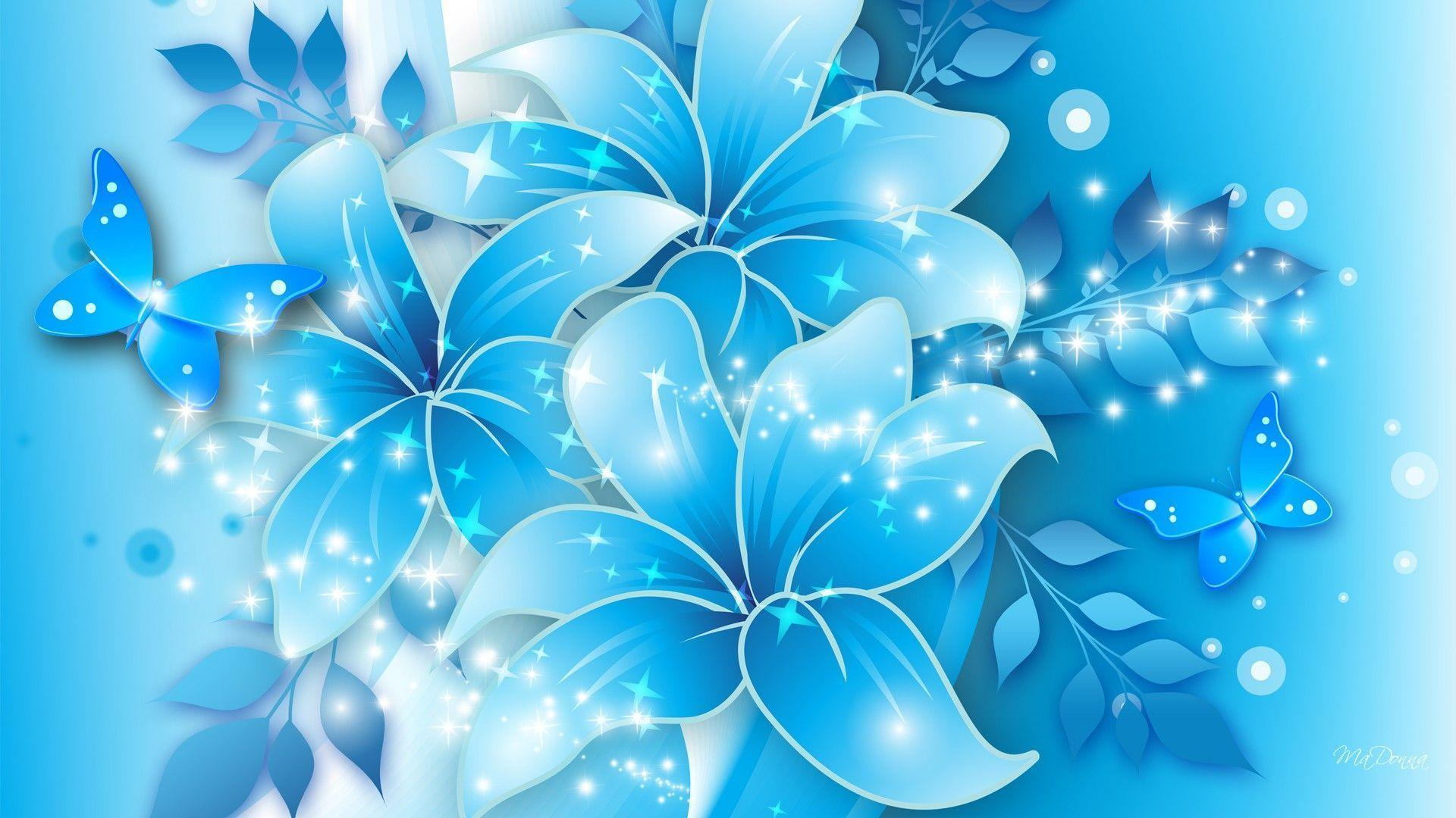 Blue Flowers Backgrounds 1920x1080