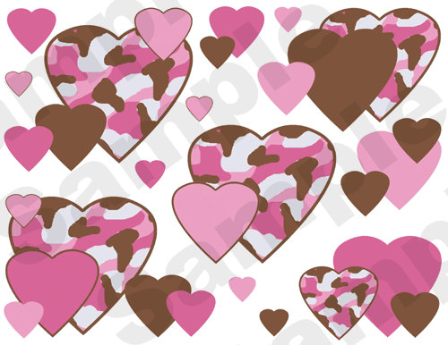 PINK BROWN CAMO hearts wallpaper wall border decals baby girl nursery 500x386