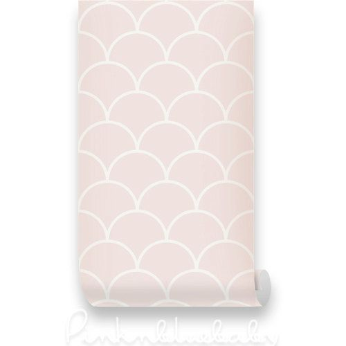 Fish Scale Pink Removable Wallpaper   Peel Stick Repositionable 500x500