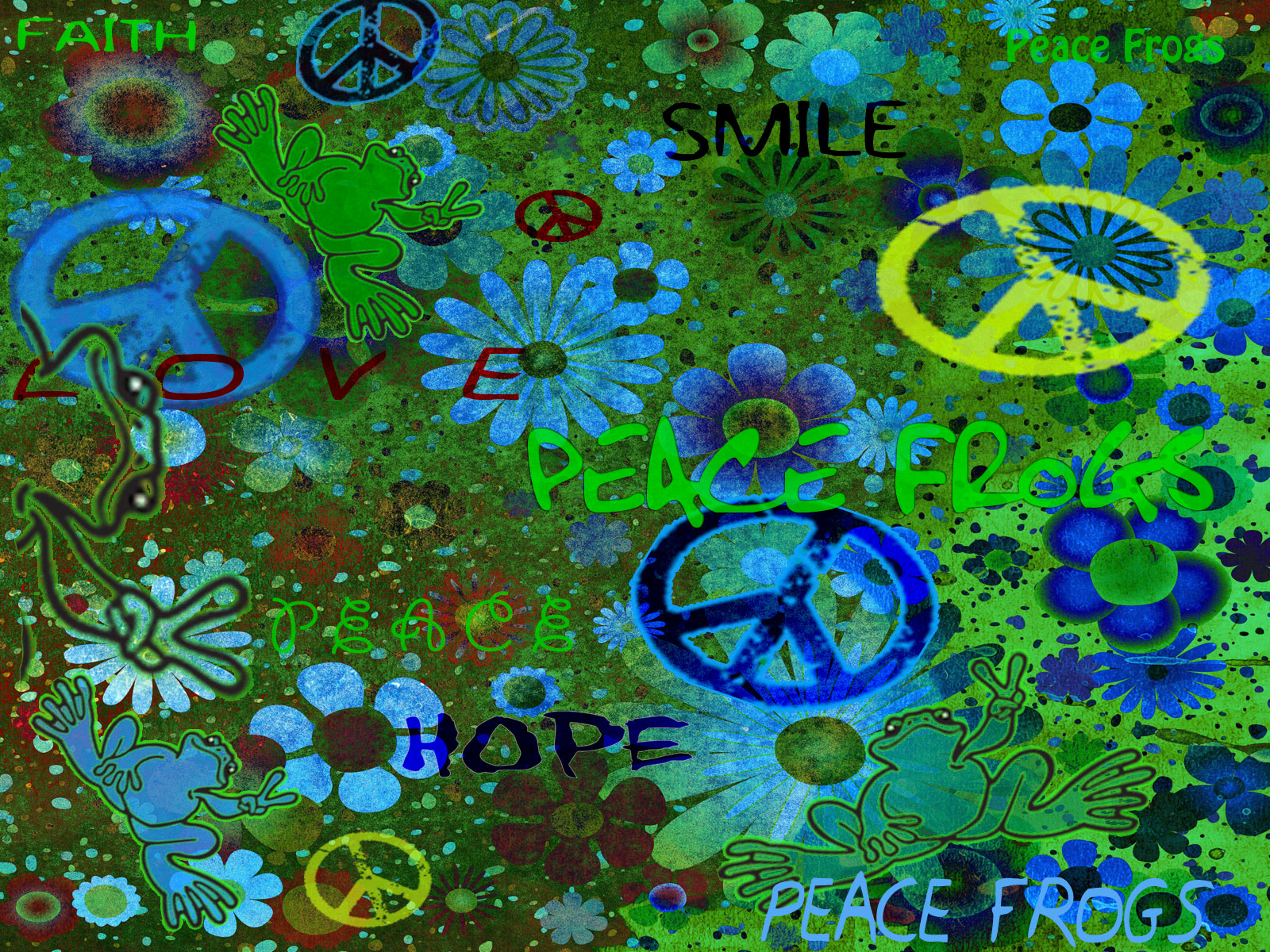 FREE Wallpaper Downloads   Easy Being Green   Peace Frogs 1600x1200