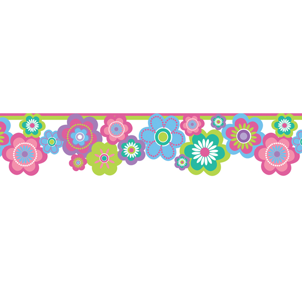 Multicolor Flower Border   Flower Power Border   Brewster Wallpaper 600x600