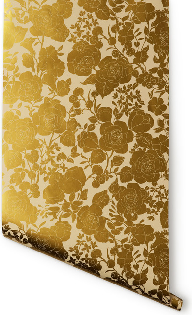 Garden Wallpaper Cream and Gold   Contemporary   Wallpaper   by Hygge 390x640