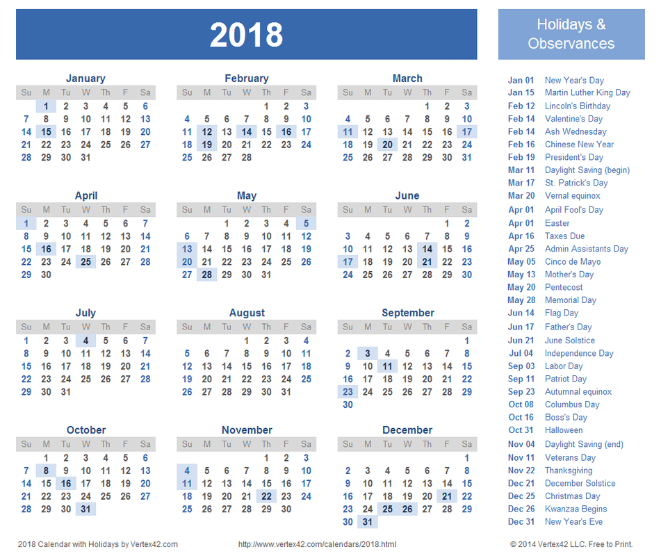 Calendar For 2018   Latest Calendar 951x800