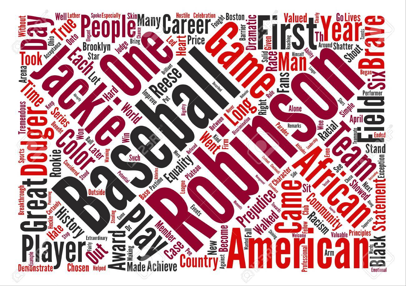 Jackie Robinson Text Background Word Cloud Concept Royalty 1300x917