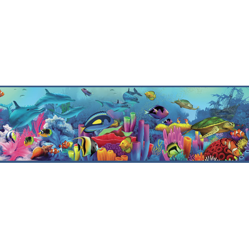 Down Under Neptunes Garden Portrait Sea Creature Wallpaper Border 500x500