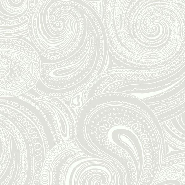 Light Grey Paisley Swirl Wallpaper Wall Sticker Outlet 600x600