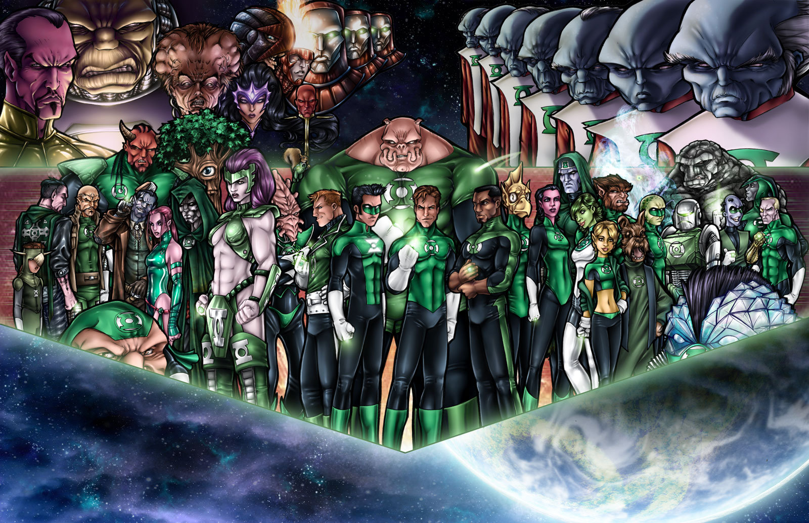 Green Lantern Corps by AdamWithers 1600x1035