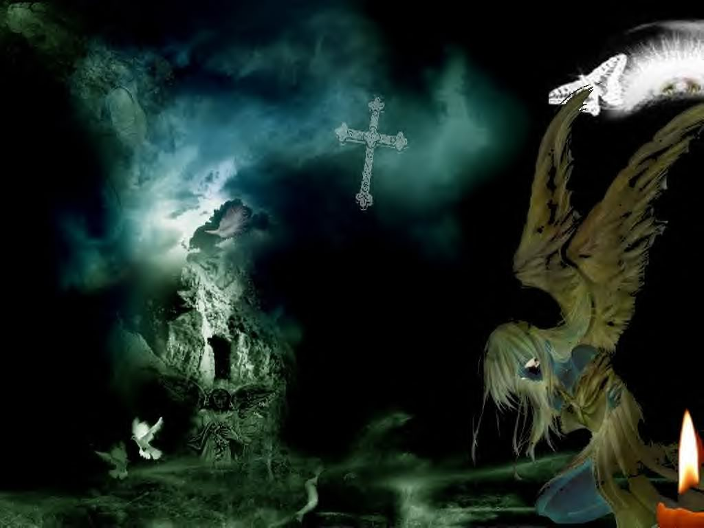 Angel in the Dark   Gothic Wallpaper 28222226 1024x768