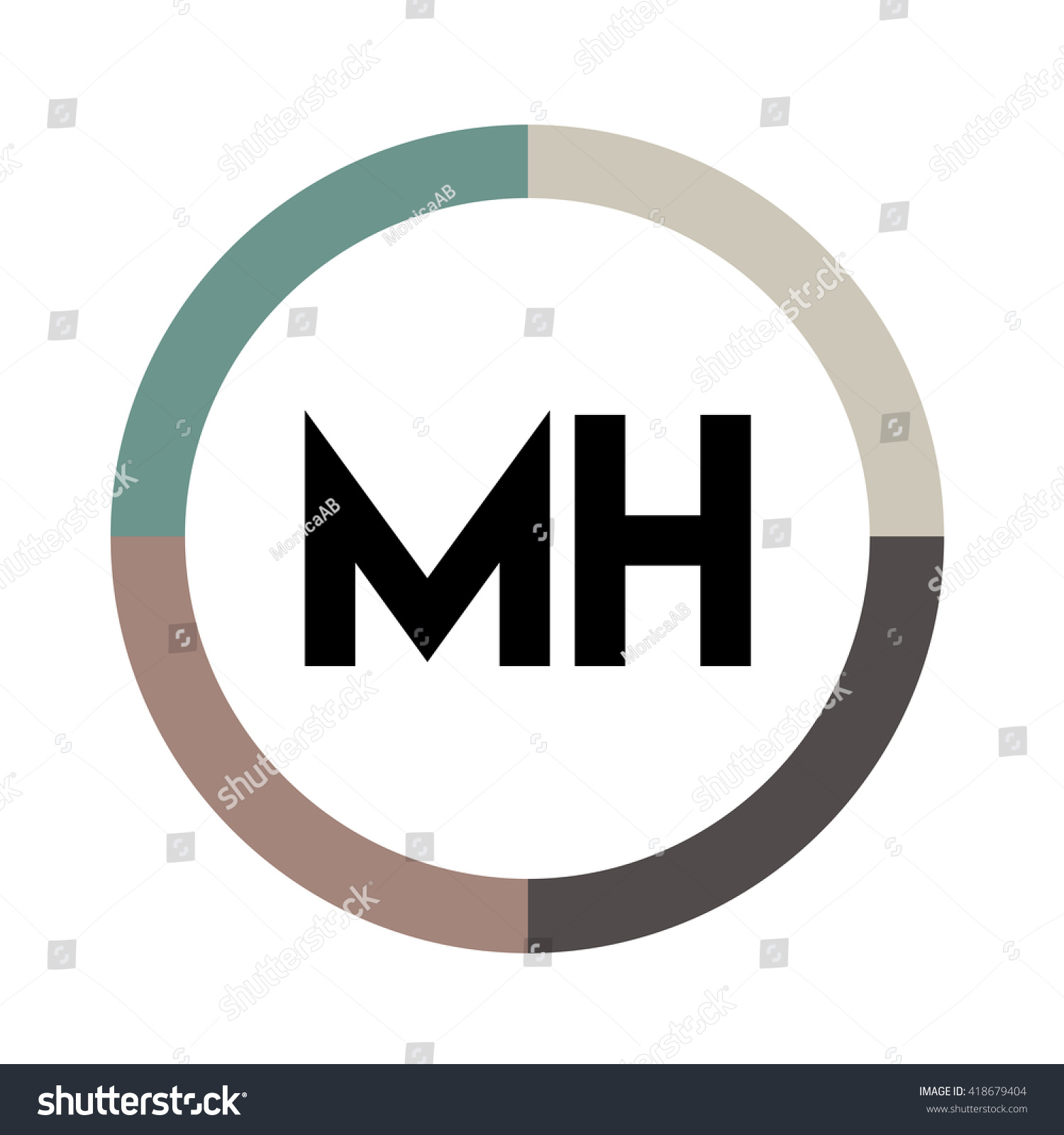 Mh Letters Four Colors Abstract Background Stock Vector Royalty 1500x1600