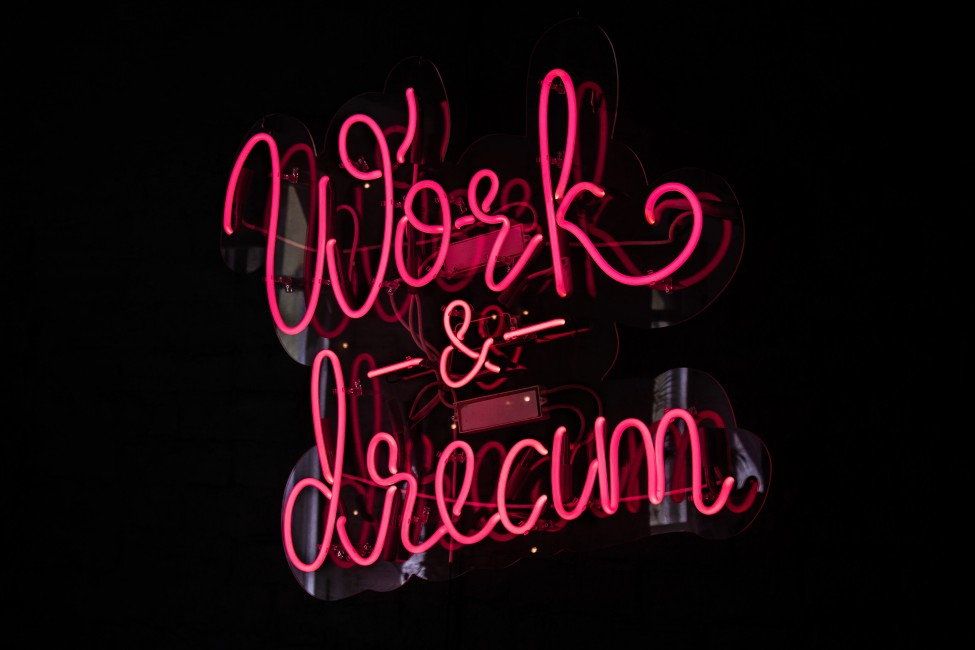 Work Dream Neon Inscription Lights   Stock Photos Images HD 975x650