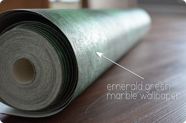 Using emerald green vinyl wallpaper I was able to sweetly makeover 640x422