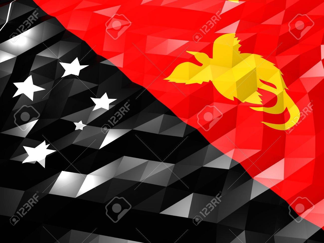 Flag Of Papua New Guinea 3D Wallpaper Illustration National 1300x975