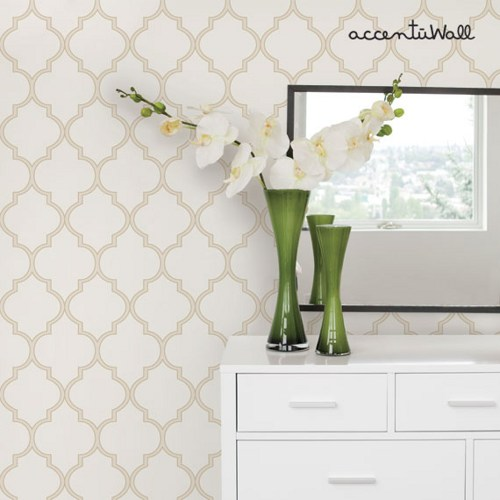 Moroccan Beige Peel and Stick Fabric Wallpaper Repositionable 500x500