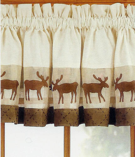 Moose Window Valance Log Cabin Rustic Lodge Curtain Scarbrough Faire 430x500