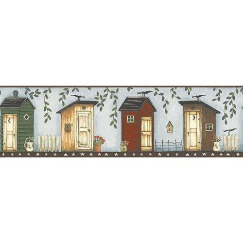 Light Blue Brown Outhouse Wallpaper Border Kitchen 500x500