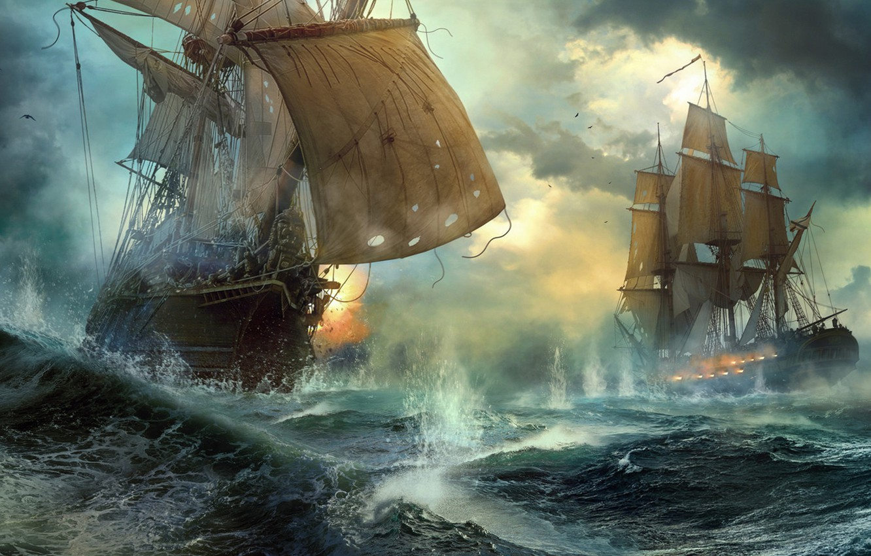 Wallpaper ships duel sea battle Duel Vladimir Manyukhin images 1332x850