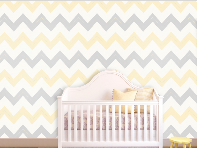 Yellow and Gray Chevron Nursery Wallpaper 794x595