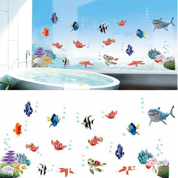 45x60cm Finding Nemo Ocean Bubble Fish For Kids Room Wall Stickers 600x600