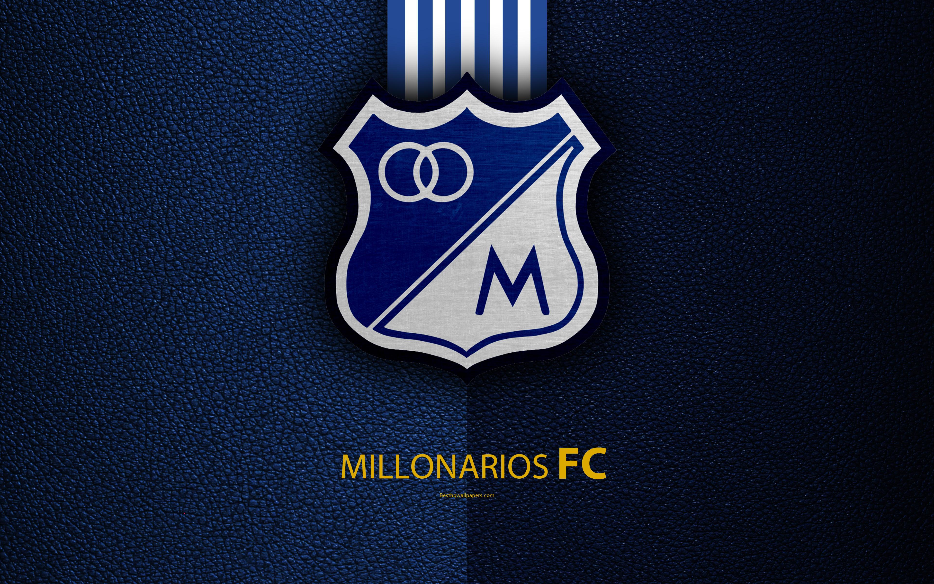 Descargar fondos de pantalla Millonarios FC 4k textura de cuero 3840x2400