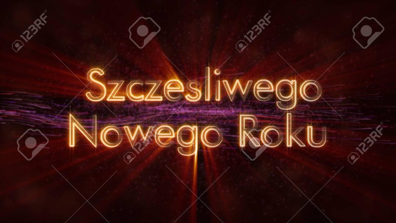 Happy New Year Text In Polish Szczesliwego Nowego Roku Loop 1300x731