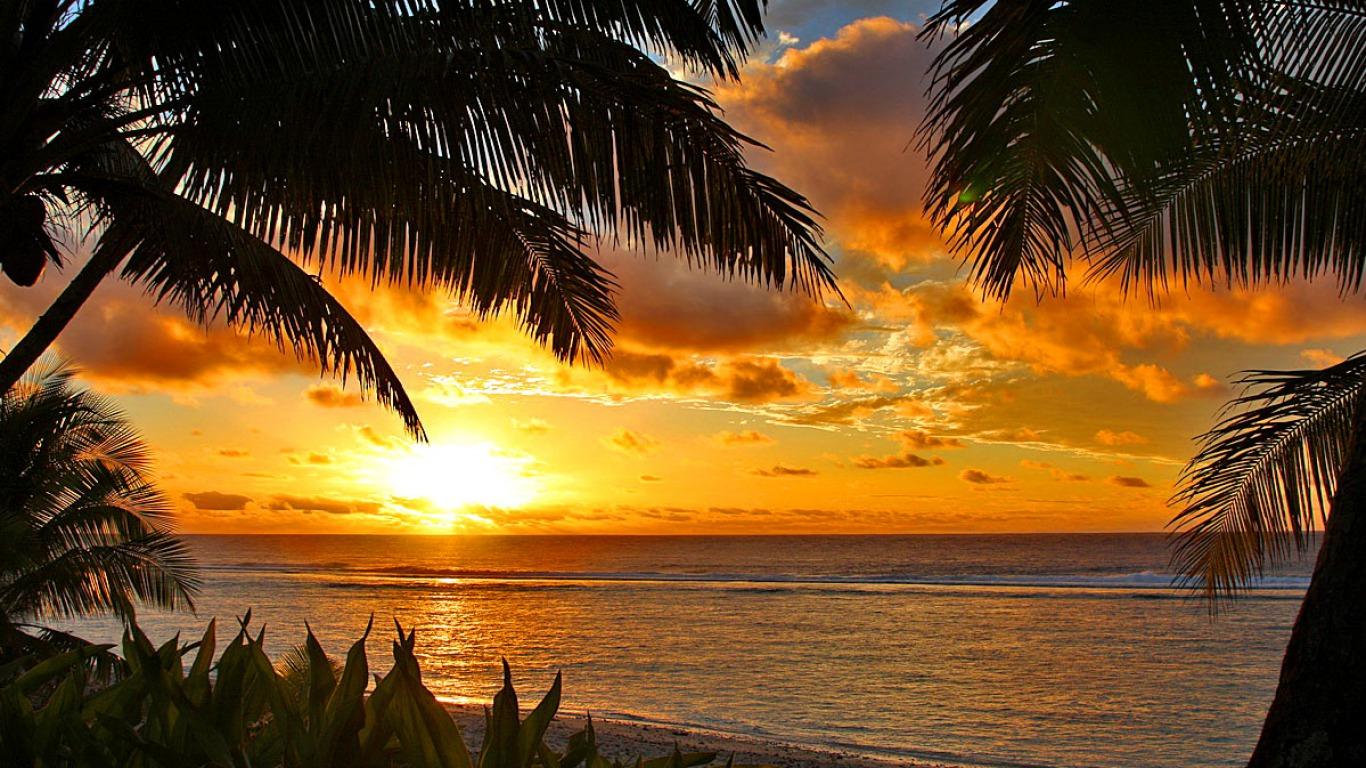 Tropical Sunset Wallpaper for Pinterest 1366x768