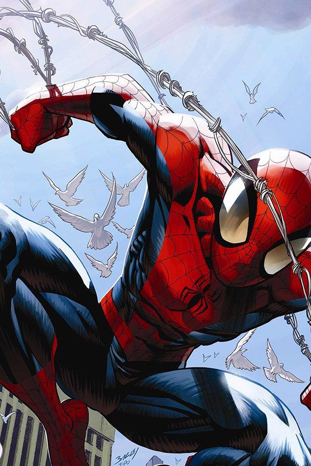 ultimate comics spider man   parallax HD iPhone iPad wallpaper 640x960