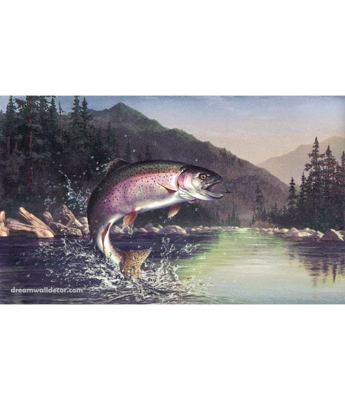 Dark Lake Mountain Fish Wallpaper Border 700x812