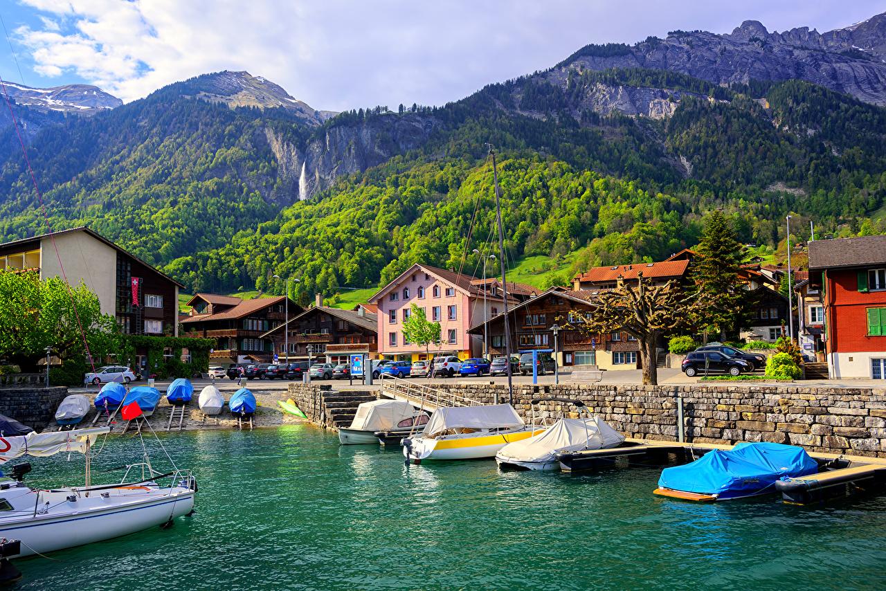 Picture Switzerland Lake Interlaken mountain Pier Cities Building 1280x854