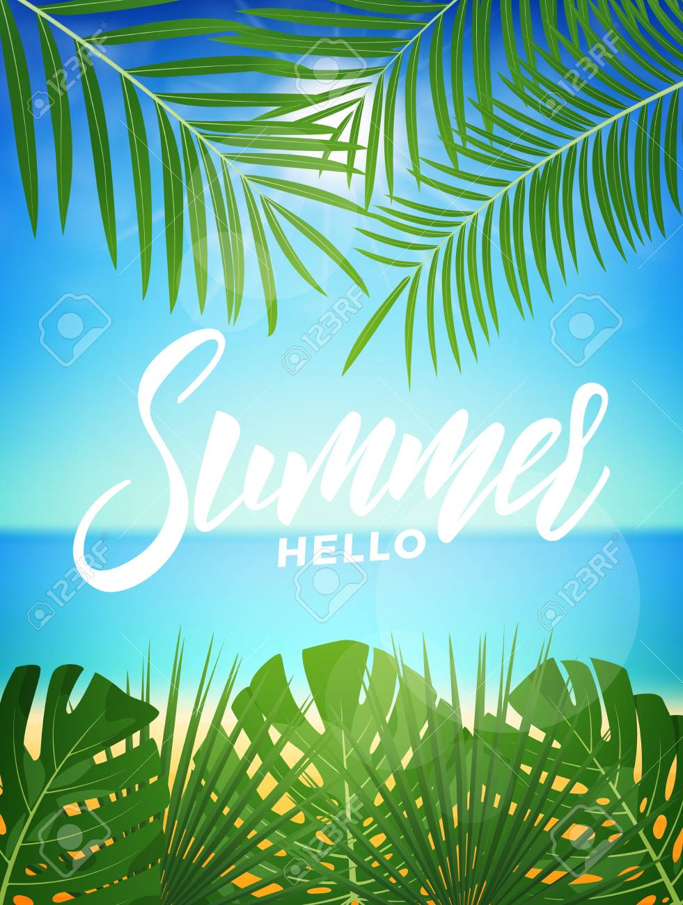 Summer Tropic Background With Tropical Palm Leaves And Exotic 981x1300