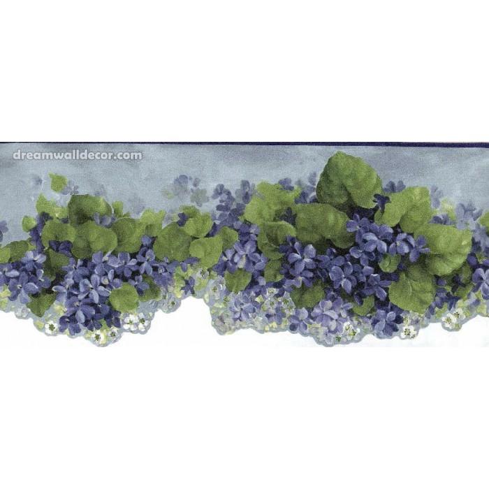 Blue African Violet Flower Wallpaper Border 700x700