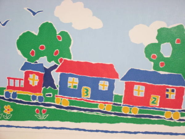 Brewster Kids Vinyl Wallpaper Border Train Primary Colors About 10 yds 600x450