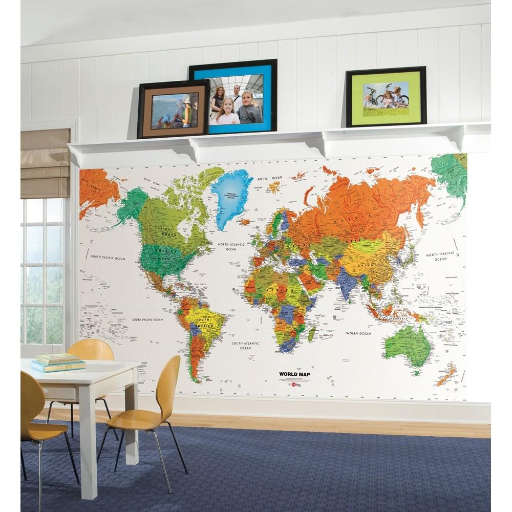 Free Download Map Prepasted Wallpaper Mural Kids Room Decor