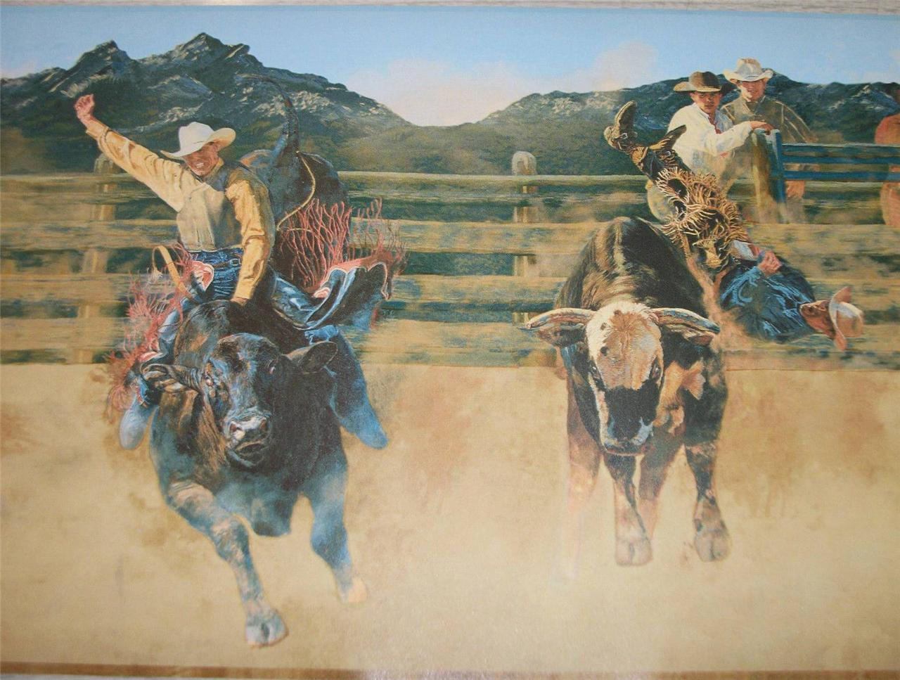 Wallpaper Border Western Cowboys Bull Riding Bucking Broncos 10 1 8 1280x967
