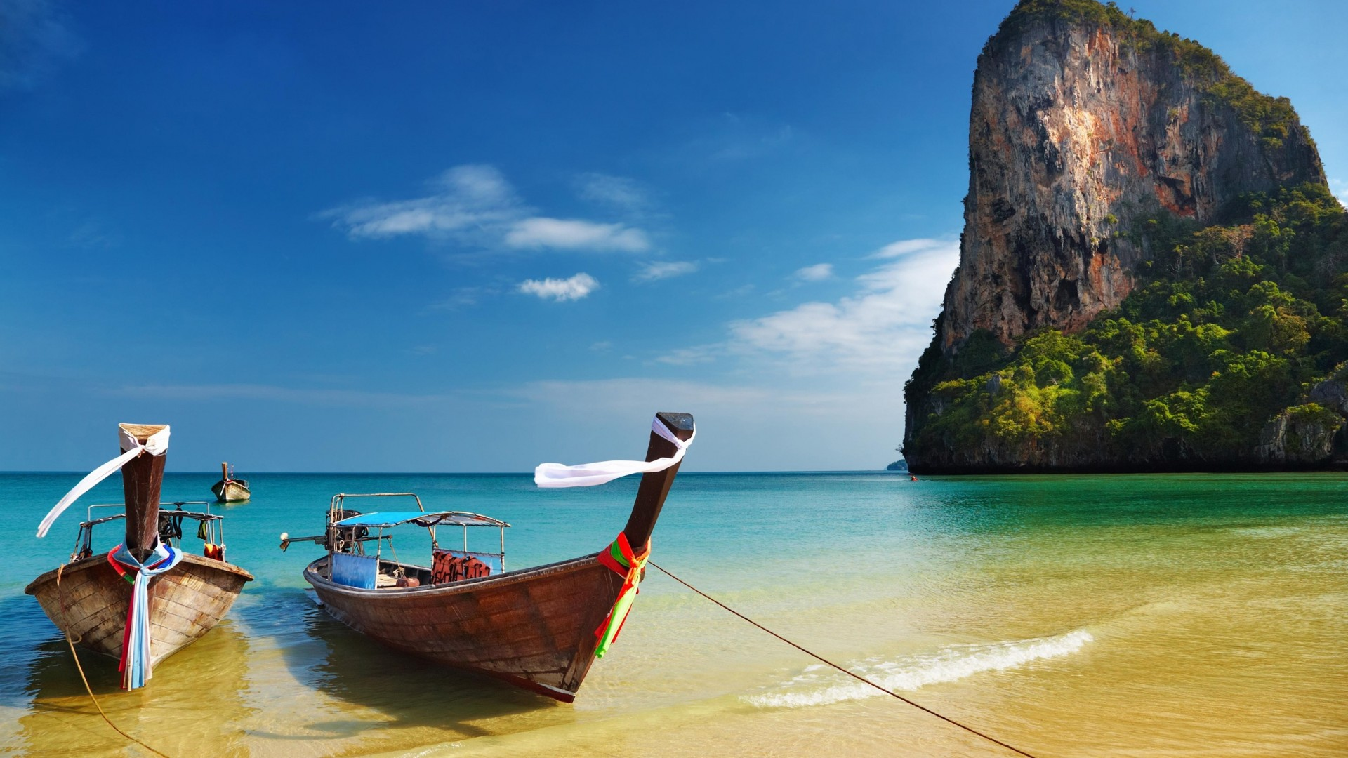 Thailand Tropical Beach Boats Hd Wallpaper 87901 1920x1080