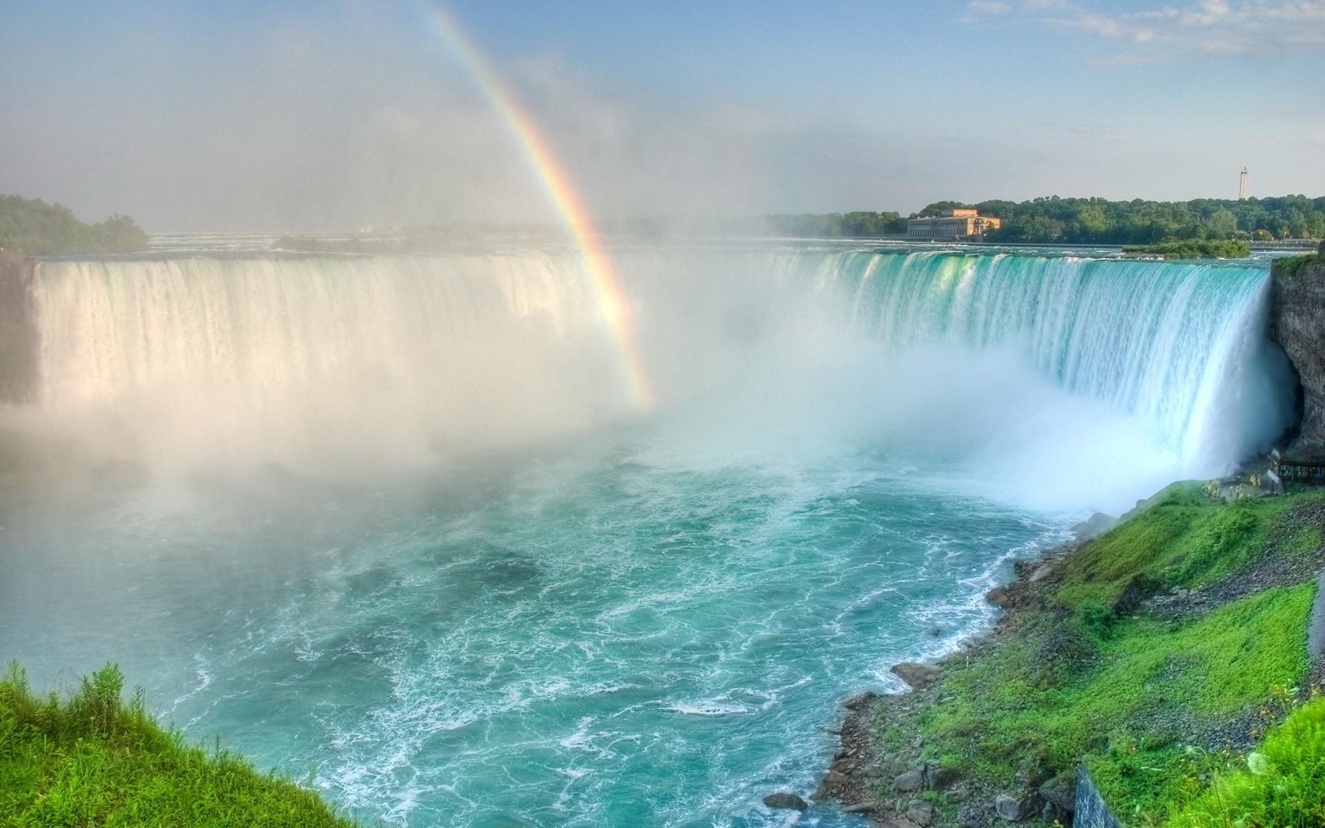 rainbows waterfalls niagara falls rainbow desktop hd wallpaper 835465 1920x1200