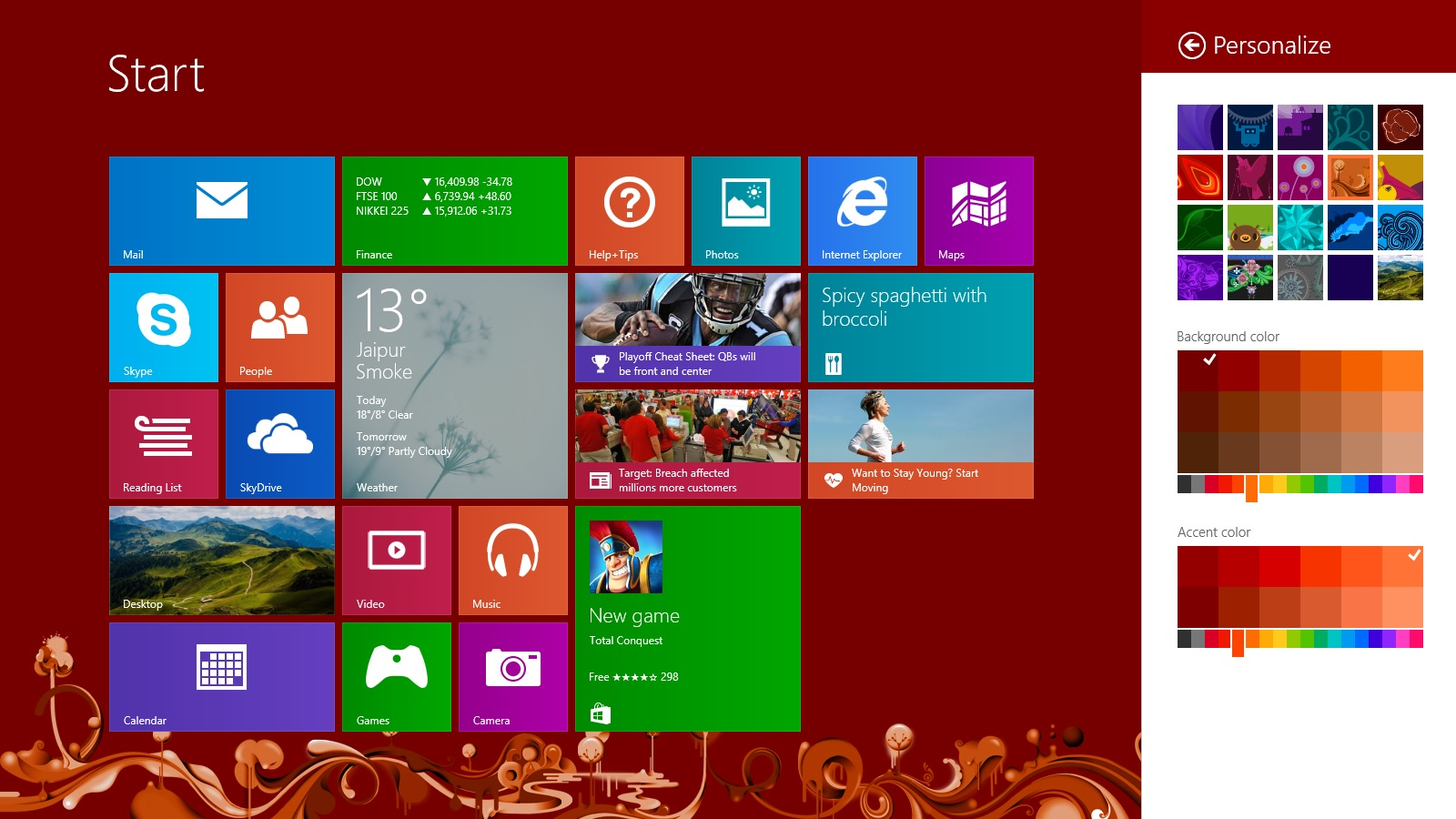 To change or personalize color and design  Go to Home Screen then on 1600x900