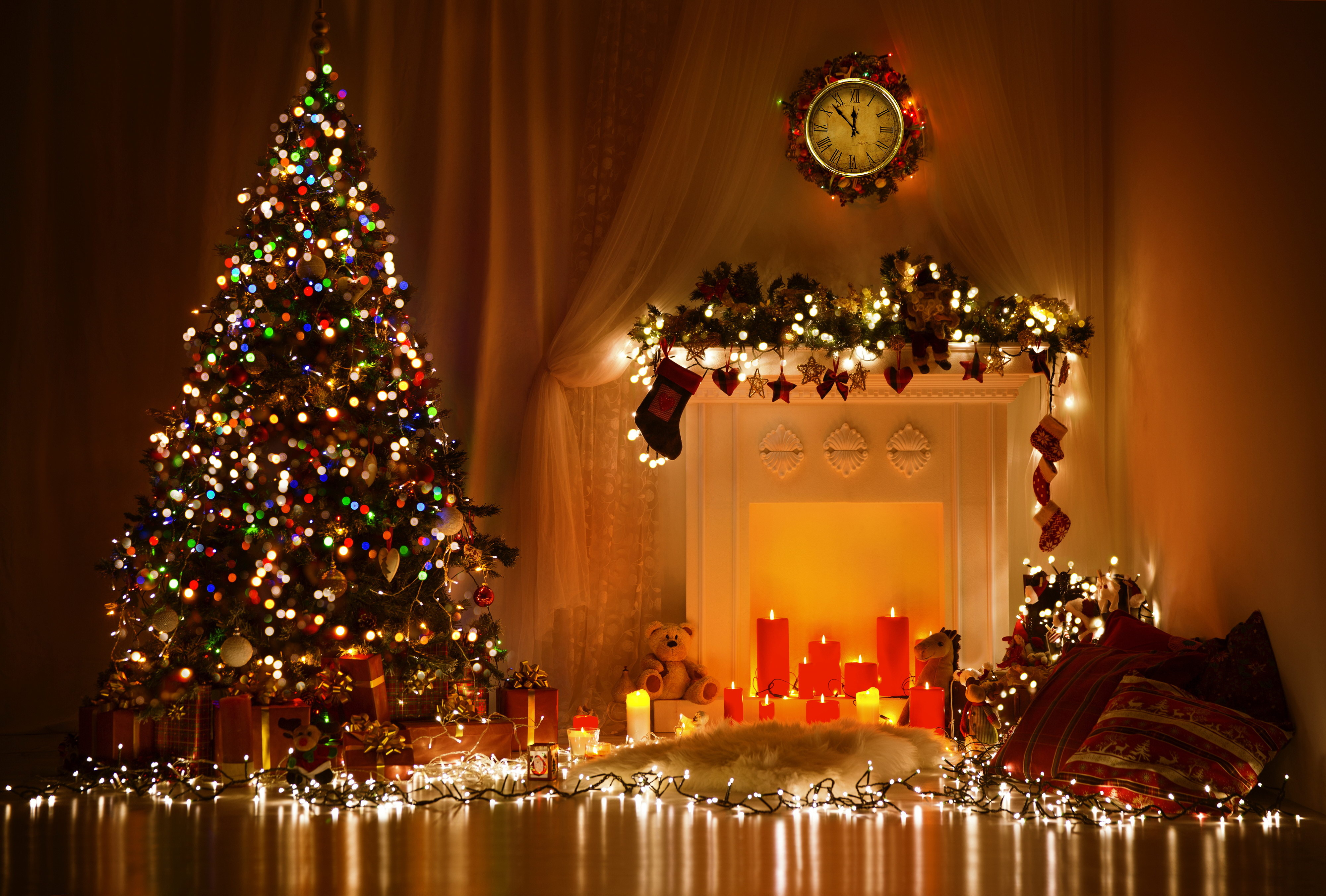 Wallpaper new year christmas christmas tree fireplace candle 4000x2704