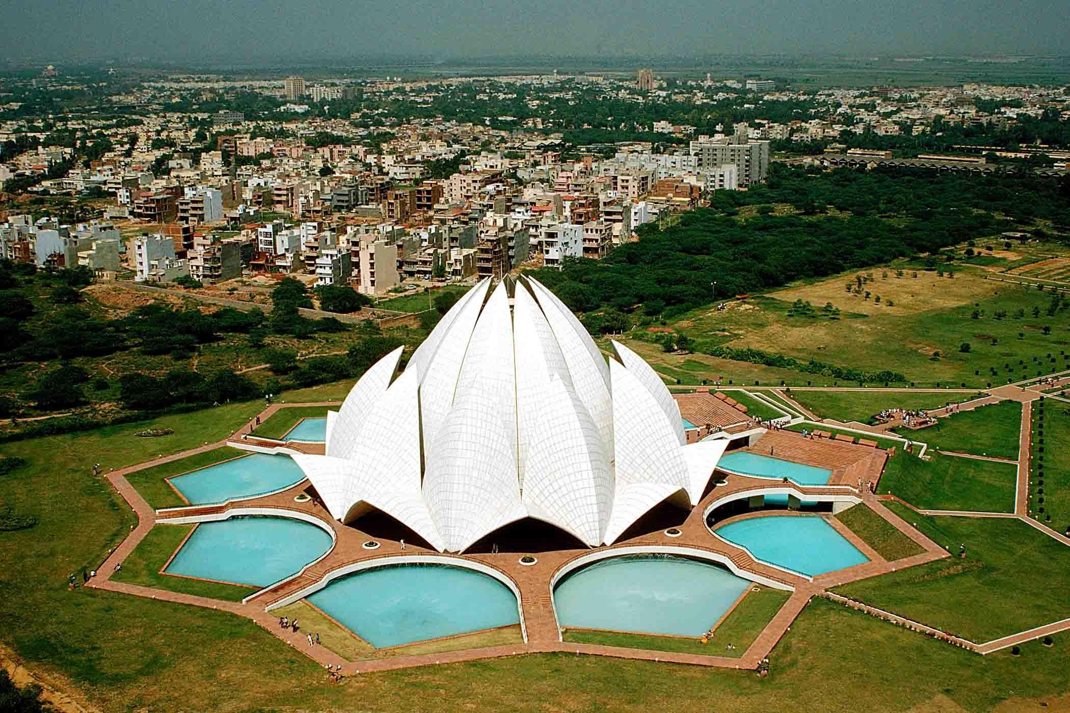 Beautiful Lotus Temple in Delhi India HD Wallpaper HD Wallpapers 2100x1400